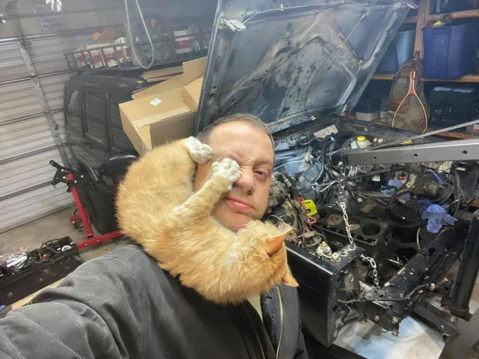 Man Finds Cat In His Garage While He Tries to Fix His Jeep But He Doesn't Own a Cat