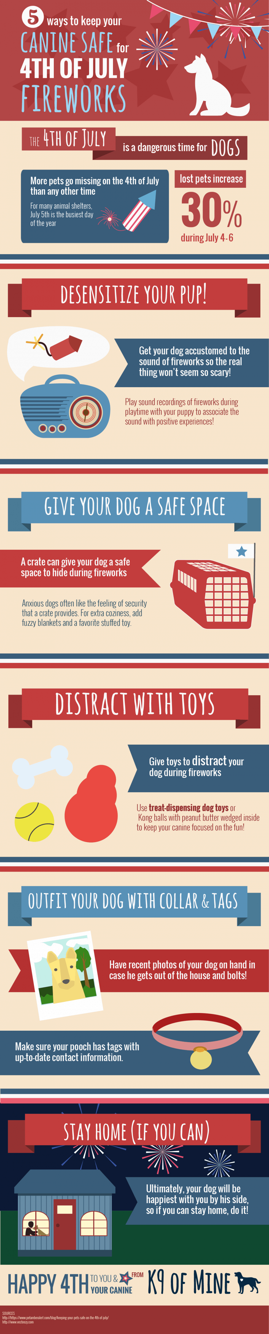 5 Ways to Keep Your Dog Safe During Fireworks #infographic