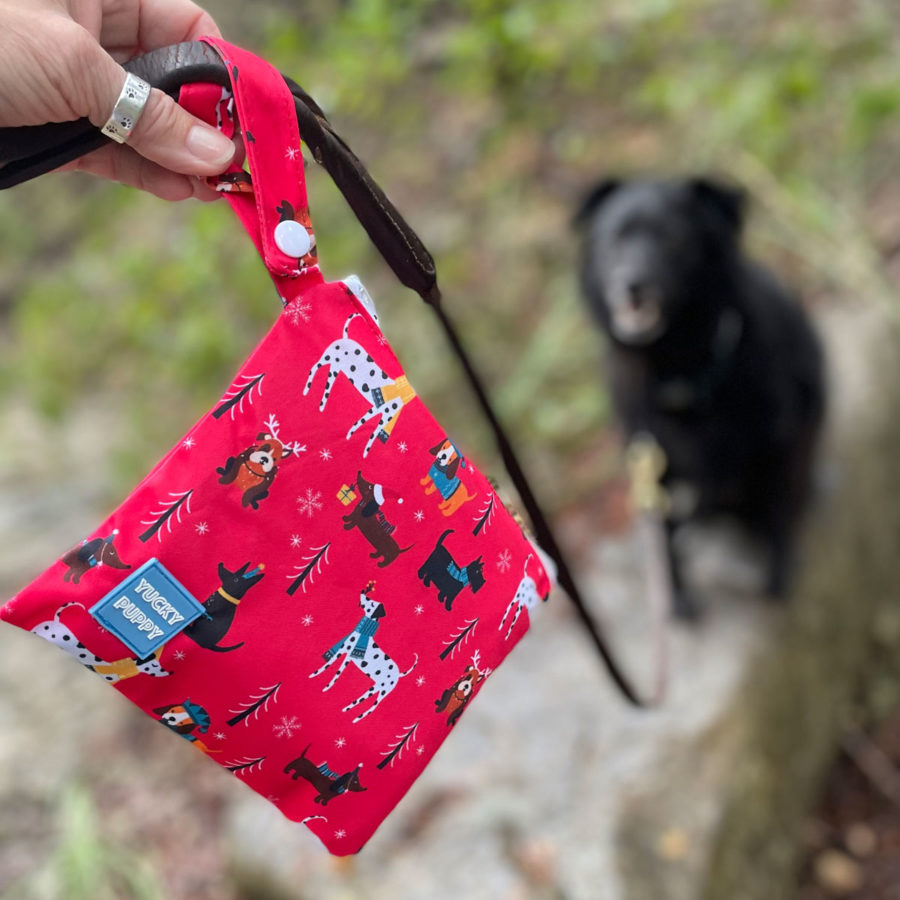 Win our new Yuletide YUCKY PUPPY bags!